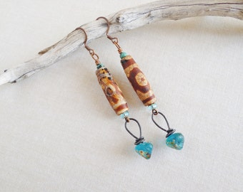 Efia.Holiday Woman Gift,Gift For Her,Lampwork Headpins,Tibetan Agate,Southern Style,Ocean Breeze Czech Glass,Yeelen Spirit,Artisan Earrings