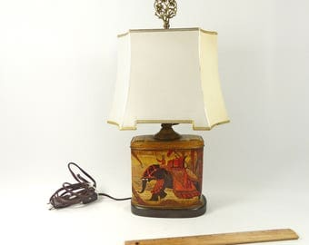 Table Lamp Vintage Hand Painted Tin Container India Theme with Vintage Lamp Shade
