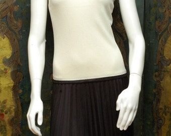 Vintage 60s White and Black Drop Waist Dress with Pleats