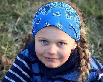 Boy's Bandana Headband, Royal Blue Bandanna, Boy's Headwrap, Blue Head Wrap, Bandana for Boy, Head Scarf, Men's Hair Band (#4024) S M L X