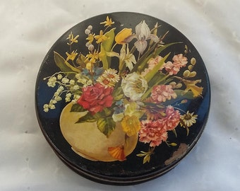 Vintage Round Storage Tin Decorative Container