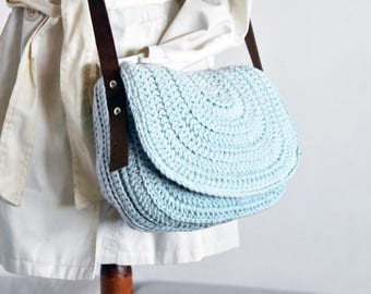 Sky blue messenger bag women saddle purse crochet handbag crossbody saddle bag genuine leather strap messenger bag women shoulder bag purse
