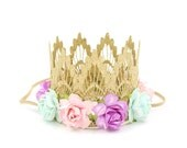 Ready to Ship || gold MINI Sienna with pink + lilac + aqua flowers || lace crown headband || Baby girl crown