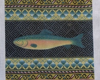 RARE Breathtaking Handpainted RAINBOW Trout FISH Needlepoint Canvas Hand Painted - Pillow or Cushion