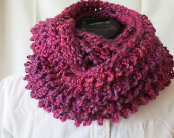 Pink and Purple Drop Stitch Infinity Scarf / Loose Knit  Multi Color Shawl / Knitted Cowl / Circle Scarf / Knitted Scoodie