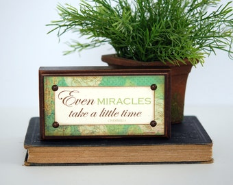 CINDERELLA Wood Sign, Even MIRACLES take a little time, Shelf Sitter, Conversation Piece