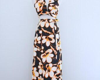 1960s Lillie Rubin Hawaiian Dress Halter Top Wrap Skirt Rhinestone Detail Black White Flowers Womens Vintage Small