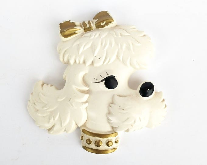 Vintage 1970s White and Gold Poodle Wall Plaque