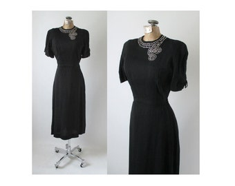 Vintage 40's Black Rayon Rhinestone Bustle Back Eveing Party Dress NOS S