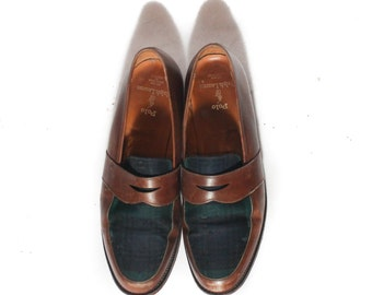 11 D | Men's Polo Ralph Lauren Black Watch Plaid Brown Leather Loafers Bench Made in England