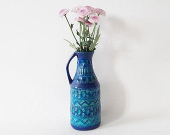 Vintage Aqua and Teal Blue Fat Lava Vase 224-20 by Bay with Handle West German Pottery