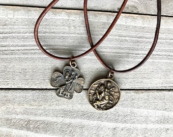 St Christopher - Leather Necklace - Bronze Medal - Vintage Replica - Made in the USA