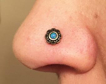 Blue Opal Gold Nose Stud Heart Gold Nose Ring