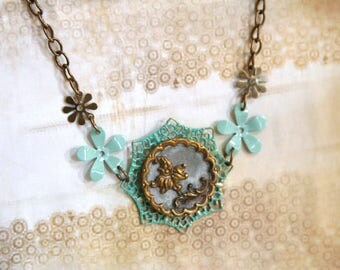 Antique Button Necklace Brass Teal Floral Bib Statement - made from an antique button