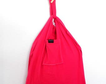Reusable Grocery Bag Compact Fold Up Produce Shopping Tote ECO Friendly Skier Red Recycled T-Shirt Bag w/ Pocket