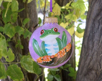 Tree Frog Ornament, Hand Painted  Ornament , purple Christmas Ornament   orn254