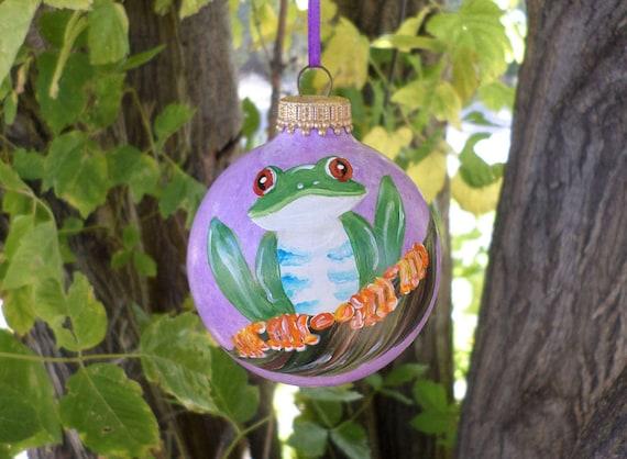 Tree Frog Ornament Hand Painted Ornament purple Christmas