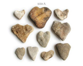 10 Heart Shaped Rocks - Natural River Beach Stones - Valentines Day Decor