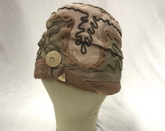 20's Cloche Hat Dusty Pink, Olive and Taupe