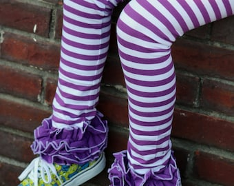 Purple Ruffle Leggings - Grape Stripe - knit ruffle leggings in purple and white - comfy knit size 6m to 10 with FREE SHIPPING