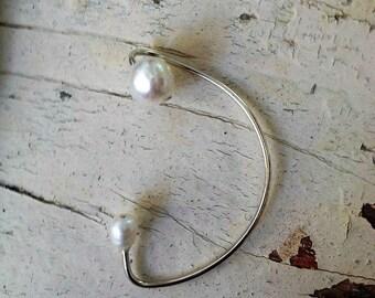 Silver Ear Cuff Elegant Ear Wrap,Sterling silver and pearls ear wrap