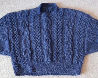 Cropped 80s batwing blue acrylic mohair mix hand knit sweater