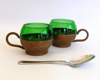 2 Vintage Green Glass and Copper Coffee Mugs, Tea Cups - Roly Poly, Mid Century Modern, Mod