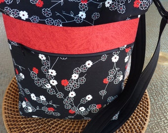 Handcrafted Cross Body Shoulder Bag/Sling Bag/Purse with Adjustable Strap, Outer Pockets