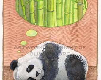"Panda Bear Original watercolor painting - Bear Art - Bear Nursery Decor - 8""×11"""