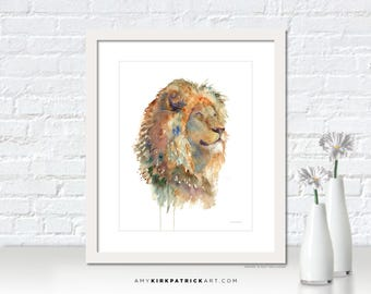 Lion Watercolor Painting, Lions Mane Print, Lion Greeting Cards, Lion Original Painting, Lion Wall Decor, Lion Wall Art, Majesty