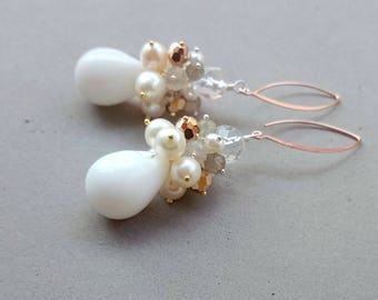 White and Rose Gold Earrings - Freshwater Pearl Cluster Earrings with Swarovski Crystal, Rock Crystal, Moonstone and Sterling Silver