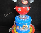 Snooker Minnie Bot - found object robot sculpture assemblage by Cheri Kudja with Bitti Bots