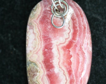 """Rhodochrosite, red pink white, """"Three Ring Circus"""", pendant silver twirl bail 68ct"""