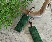 African Jade Earrings , dark forest green gemstone jewelry
