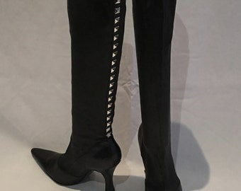 Gianni Versace Black Pointed Toe High Boot with Silver Studs Size 38