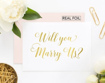 Will You Marry Us Card - Wedding Card to Your Officiant - Wedding Card for Priest, Rabbi, Deacon, Friend, Minister (CH-X8B)