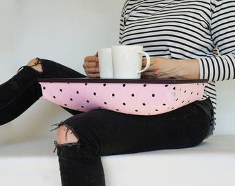 Fun Serving tray with pillow, laptop lap stand- black tray, pink with black polka dot Pillow
