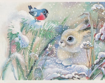 New Year's Print, Postcard by T. Zhebeleva -- 1988