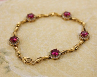 Beautiful Golden with Pink Crystals / Stones Fashion Bracelet