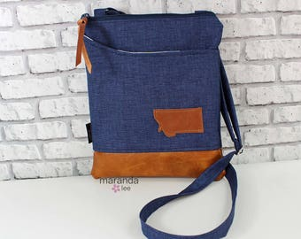 ZOE Messenger Cross Body Sling Bag Dark Navy Denim with Montana Patch - Outside Pocket and PU Leather READY to SHIp