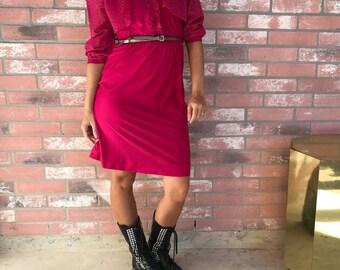 VTG 80's Neon Pink Prairie Girl Dress