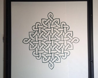 ETERNITY CELTIC LOVE Knot Silhouette Paper cut in Forest Green. 1st Anniversary, Engagement & Wedding Gift Wall Art Home Décor Hand cut OOaK