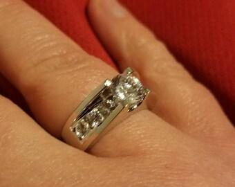 14k White Sapphire Engagement Ring