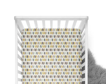 Fitted Crib Sheet Chevron Slices Mint and Gold - Chevron Crib Sheet- Mint Crib Sheet- Mustard Crib Sheet- Mint Baby Bedding- Mustard Bedding
