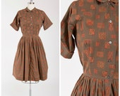 Vintage 1950s Dress • Really Want • Brown Printed Cotton 50s Shirtwaist Day Dress Size Medium