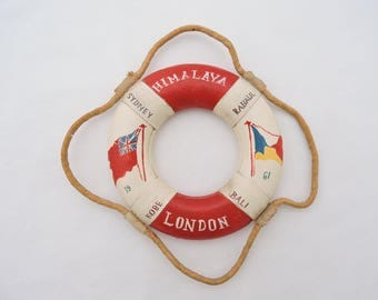 Vintage 1961 S.S. Himalaya Passenger Cruise Ship Souvenir Life Preserver Ring - Hand Painted Wooden Life Buoy Ring