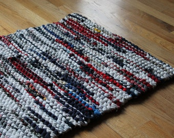 Red, White, & Blue Rag Rug Utility Laundry Workshop Nautical Upcycled T Shirt Farmhouse Tan Rectangle 22 in by 33 in -US Shipping Included
