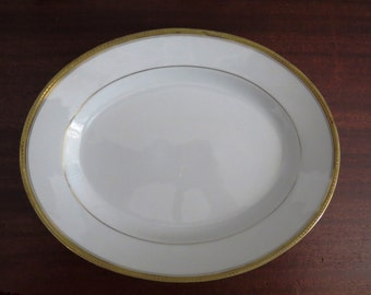 Vintage Serving Platter by Tressemanes Vogt Limoges France - White with Tiny Gold Hearts Trim Plate - EB Taylor Fine China Dishes