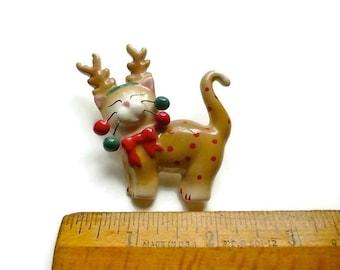Vintage Reindeer Pin Cat Ceramic Brooch Christmas Brooch Cat Lover Gift Stocking Stuffer