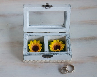 White Wedding Box Sunflower Ring Box Personalized Ring Bearer Box Еngagement Box Glass Wedding Box Proposal Box  Wedding Holder Ring Box